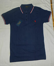 BNWT-Polo By Ralpha Lauren Custom Fit Tipping Collar Small Pony Polo Shirt-Navy