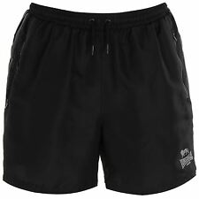 MENS BLACK STRIPE LONSDALE LONDON BOXING GYM WOVEN MESH LINED ELASTICATED SHORTS