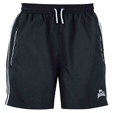 MENS NAVY STRIPE LONSDALE LONDON BOXING GYM WOVEN MESH LINED ELASTICATED SHORTS