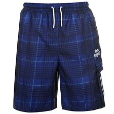 MENS BLUE CHECK LONSDALE BOXING GYM MESH LINED BEACH BOARD CARGO SHORTS