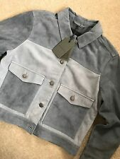 "ALL SAINTS SLATE BLUE ""SYKES"" SUEDE LEATHER  JACKET - UK 10 & 12 - NEW & TAGS"