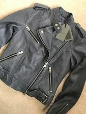 "ALL SAINTS SLATE BLUE ""ATKINSON"" LEATHER BIKER JACKET - UK 4 & 6 - NEW & TAGS"