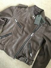 "ALL SAINTS BATTLE BROWN ""ATKINSON"" LEATHER BIKER JACKET - UK 4 6 8 - NEW & TAGS"