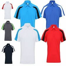 AWDis Mens Contrast Cool Polo T-Shirt Wickable Training Running Gym Sports JC043