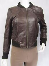 Ladies Brown Napa Leather Slim Tight Fitted Bomber Biker Fashions Jacket Bike