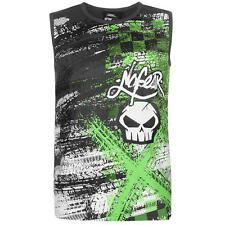 MENS NO FEAR BLACK MOTOCROSS MX DIRT BIKE TYRE SKULL VEST TEE SHIRT T-SHIRT TOP
