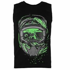 MENS NO FEAR BLACK MOTOCROSS MX DIRT BIKE SKULL LOGO VEST TEE SHIRT T-SHIRT TOP