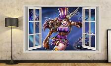 3D Window View Effect Caitlyn League of Legends Art Mural Wall Sticker 284A