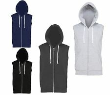 AWDis Sleeveless Mens Hoodie Full Zip Hoody Jumper Workout Ladies Hood JH057