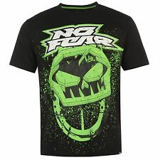 MENS NO FEAR BLACK GREEN MOTOCROSS MX DIRT BIKE SKULL LOGO TEE SHIRT T-SHIRT TOP