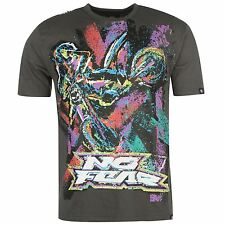 MENS NO FEAR GREY MOTOCROSS MX DIRT BIKE RETRO RIDER LOGO TEE SHIRT T-SHIRT TOP