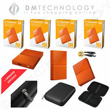 HARD DISK ESTERNO 2,5 WD MY PASSPORT 1TB-2TB-3TB-4TB USB 3.0 ORANGE + CUSTODIA