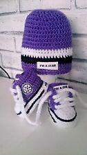 HAND MADE CROCHET BABY TRAINERS AND HAT PURPLE