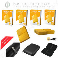 HARD DISK ESTERNO 2,5 WD MY PASSPORT 1TB-2TB-3TB-4TB USB 3.0 GIALLO + CUSTODIA