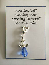 SOMETHING BLUE WEDDING LUCKY BOUQUET GARTER GUARDIAN ANGEL CHARM GIFT PRESENT