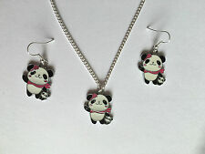 "CUTE ENAMEL PANDA  EARRING NECKLACE SET  Christmas Present in gift bag 18"" Chain"