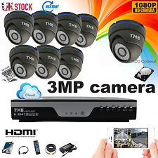 8 Channel 3MP CCTV DVR 1080P HD TVI HDMI Security System CAMERA Outdoor Home IR
