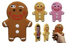 Gingerbread Man Silicone Rubber 3D Cartoon Case Cover Skin For iPhone 5 c 6 Plus
