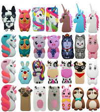 Cute Unicorn Animal Silicone Rubber Kawaii 3D Case Cover For iPhone 5 6 7 Plus