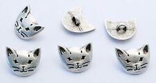6 bottoni in metallo serie animali - GATTO - cat buttons