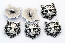 6 bottoni in metallo serie animali - GATTO SELVATICO - cat buttons