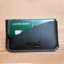 Full Grain Real Leather Small ID Credit Card Wallet Slim Pocket Card Holder
