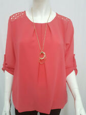 New Ladies Women Lace Crochet Necklace Top Blouse Round Neck Long Sleeves Shirt