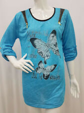 New Ladies Women Italian Butterfly Print Shirt Long Sleeves Top Blouse One Size