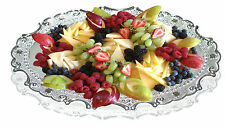Silver Platted Oval Finished Decorative, Serving And Gifting Tray (Small)