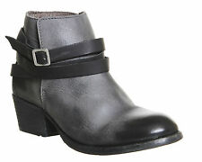 H By Hudson Washed Black Horrigan Strap Leather Ankle Biker Buckle Boots 3 - 5