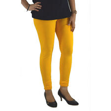 GOLDEN YELLOW COTTON LYCRA WOMEN LEGGINGS ANKLE LENGTH