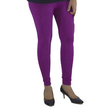 PURPLE COTTON LYCRA WOMEN ANKLE LENGTH LEGGINGS