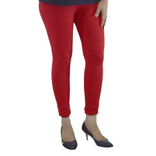 RED COTTON LYCRA WOMEN ANKLE LENGTH LEGGINGS