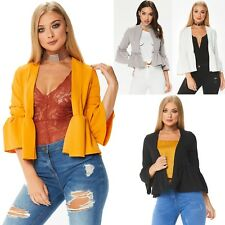 WOMENS LADIES LONG SLEEVE TAILORED  FIT FRILL BELL SLEEVE OPEN BLAZER TOP JACKET