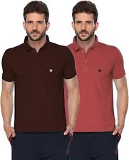 ONN Mens Casual Cotton Half Sleeves Polo T-Shirt (ONN_431_Coffee-Wine_Pack of 2)
