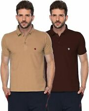 ONN Men's Cotton Half Sleeves Polo T-Shirt (ONN_431_Camel and Coffee_Pack of 2)