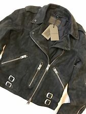 "ALL SAINTS WOMEN'S PETROL BLUE ""EDWARDS"" LEATHER BIKER JACKET - UK 6 - NEW TAGS"