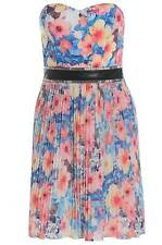 Womens Plus Size Multi Coloured Floral Print Pleated Dress With PU Panel Detail