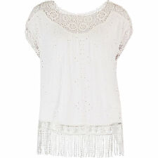 "SUPERDRY WOMENS CREAM WHITE ""LACY SCHIFFLI CAPE"" TOP VEST - XS S L - NEW & TAGS"