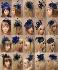 NAVY FASCINATOR WEDDING RACES ASCOT FASHION MIDNIGHT BLUE ALICBAND COMB CLIP LOT