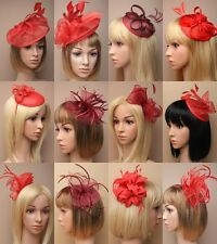 RED FASCINATOR WEDDING RACES ASCOT PROM, OCCASION, HAT BURGUNDY WINE WHOLESALE