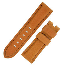 Panerai Style Vintage Leather Deployment Watch Strap in GOLD BROWN