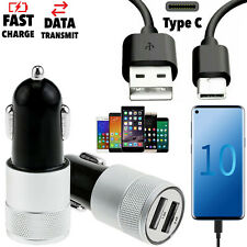 Twin Dual 2 USB Port In Car Socket Lighter Charger + USB C Type-C 3.1 Cable Lead