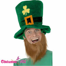 Mens St Patricks Day Green Shamrock Leprechaun Hat & Ginger Beard Irish Costume