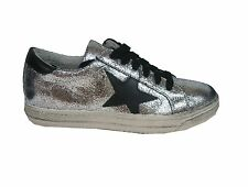 Meline sneaker stella BUP71 pelle laminata argento made in Italy