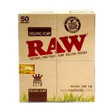RAW ORGANIC HEMP King Size Slim Rolling Paper Natural Unrefined 1 - 50 Booklets