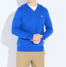Fred Perry Classic Cotton V-Neck Pullover Sweater Mens Blue Sweatshirt K8260-969
