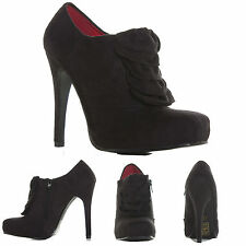 WOMENS LADIES HIGH HEEL STILETTO PLATFORM PARTY SUEDE ANKLE BOOTS SHOES SIZE