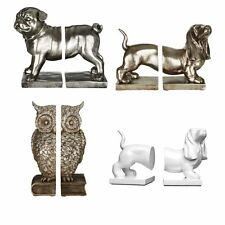 Set of 2 Pug And Owl Bookends Polyresin Antique Silver