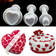 Set Of 3 Cake Heart Decorating Stencils Mould Cutter Tool Home Baking Plungers